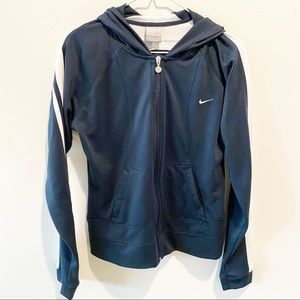 Nike navy and white track hoodie jacket
